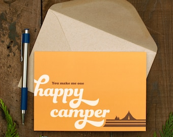 HAPPY CAMPER Stationery Valentines Day Card Adventure Campfire Camping Greeting Cards I Love You Cards Friendship Anniversary Love Cards