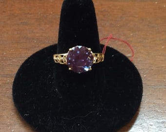 10K gold beautiful simulated sapphire ring.  Size 8