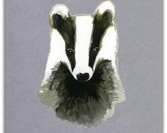 The Badger original greeting card handmade 15cm x 15cm