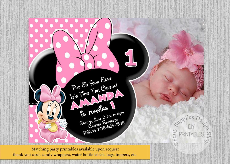 Conosciuto Inviti di compleanno Minnie Mouse Cute Baby Baby Minnie 1 GK94