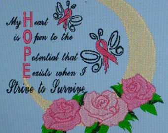 Breast Cancer Awareness embroidery design, instant download, machine embroidery, rose, moon, Hope, butterfly ribbon, survival fight, inspire