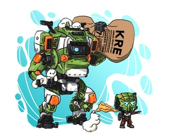 """Titanfall Jack and BT Print 8.5x11"""" Kitty Mech Art Gift for Nerds and Video Gamers"""