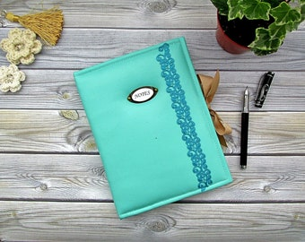 Notepad with paperback with artificial leather, soft female notebook, turquoise notebook, book for entries with old pages, personal diary.