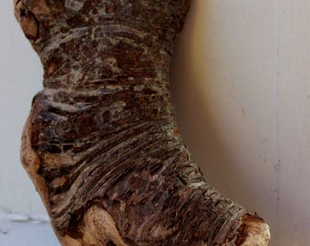 Boot Shaped Driftwood Vase / Air Plant Holder with textured Bark Design