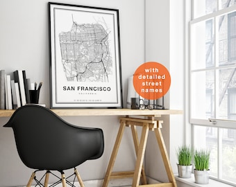 San Francisco Map, San Francisco City Map Art, San Francisco Print, San Francisco Art, San Francisco Poster, California Map of San Francisco