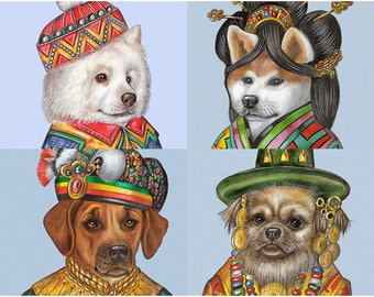 International Dog Society - 4 Art Prints - Samoyed, Akita Inu, Rhodesian Ridgeback, Tibetan Spaniel - Pet Portraits by Maria Pishvanova