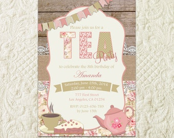 Tea Party Invitation, Birthday Tea Party, Shabby Chic Invitation, Tea Party Invite, Shabby Chic Birthday Invite, Girls Tea Party Invitation