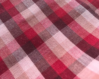 Vintage Red and Pink Plaid Lightweight Shirt Fabric 1950's/1960's