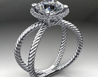 raven ring – 2.5 carat NEO moissanite engagement ring, split shank engagement ring