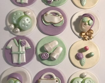Spa Day Fondant Cupcake, Cake, Cookie Toppers. Includes 12
