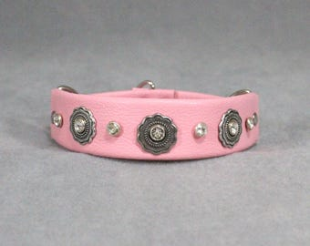 Pink, Silver Flower Conchos, and Swarovski Crystal Leather Martingale Dog Collar