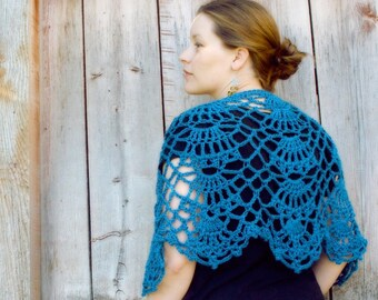 Crochet Lacy Caplet Shawl - Custom - Choose Your Own Color