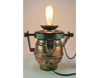 Antique  copper oil lantern converted to an amazing electric lamp