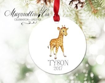 Baby 1st Christmas Giraffe Ornament - Personalized Kids Ornament for Girl - Christmas Gift Baby Shower Gift Girl First Ornament for Children