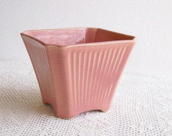 Vintage Pink Pottery Vase Planter Cottage Jardiniere Vetter W Germany 1960s