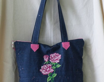 tote bag pink sequined denim, embroidery with a rose pink imitation leather, wearing a shoulder