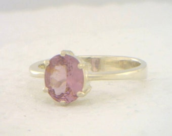 Asian Pink Purple Spinel Handmade 925 Silver Ladies Solitaire Ring size 7.75