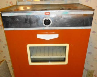 "1960s Childs Size Tin Litho Oven. Large - 28"" tall,"