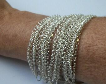 Wide Sterling Silver Chain Bracelet