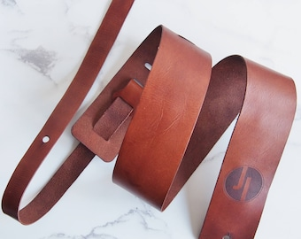 Custom Guitar Strap personalised leather guitar strap logo bass strap bass brown leather gift for musician guitar accessory gift for him