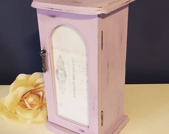Vintage purple jewelry box - shabby chic upcycled