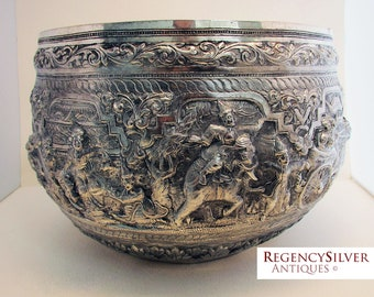 Magnificent Burmese Antique (1913) Repousse THABEIK BOWL. Low Grade Silver. Early 20th-Century. Upper Kalewa, Burma.