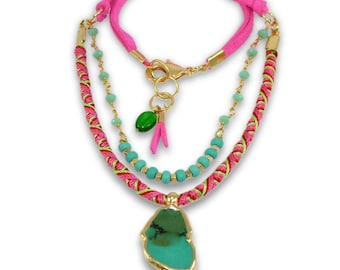 Tribal Necklace, Beaded, Turquoise Necklace, leather, Layering Necklace, Rosary Necklace, Statement Necklace, Hot Pink & Turquoise necklace.