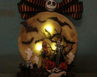 Jack Skellington the Pumpkin King, Zero & Sally Nightmare Before Christmas Light Up Dated Ornament Full Moon Bat RIP Ribbon Halloween Ghost