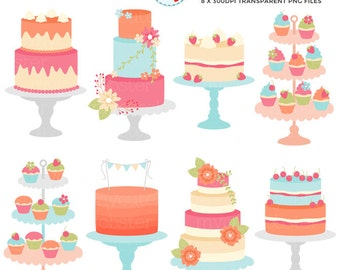 Vintage Cakes Clipart Set - clip art set of bright cakes, rustic, wedding cake, cakes - personal use, small commercial use, instant download