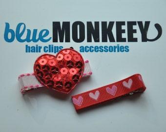 Red Sequin Heart Hair Clip Set