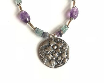 Sterling Silver Flower Medallion Fluorite Necklace / Amethyst Necklace / Purple Green Blue Necklace / Gemstone Necklace / PMC Pendant