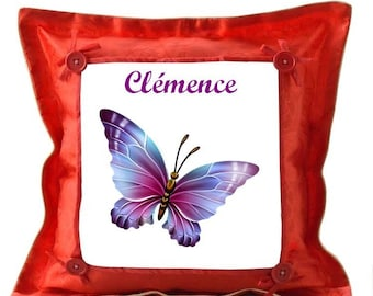 Red pillow Butterfly personalized with name