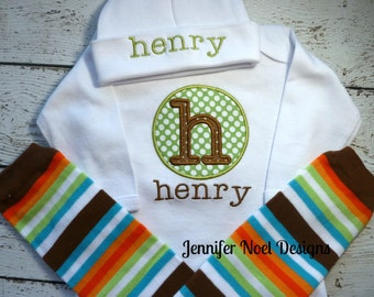 Personalized Newborn Boy Take Home Outfit, Take  Home From Hospital, name gown, leg warmers, Hat Set, newborn photo prop, baby shower gift