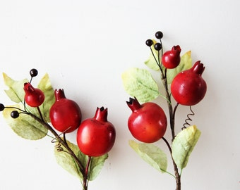 Pomegranate twig, craft supplies pomegranate, pomegranates on small branch, artificial pomegranates for wreaths and craft making, set of two