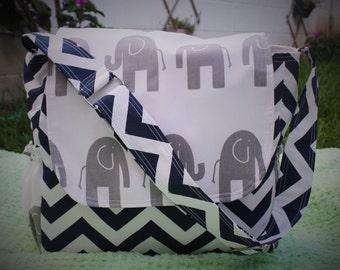 Messenger Diaper Bag chevron/elephant blue and white for baby boyl!!