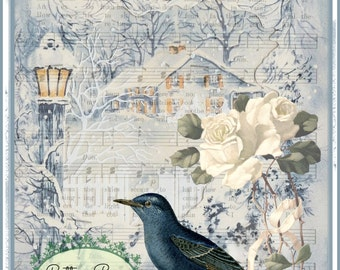 Blue Christmas My Winter Home white roses Blue bird Large digital download ECS buy 3 get one free