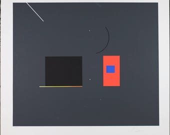 Robert Einbeck Signed Vintage Abstract Print Lithograph and Silkscreen Limited Edition Number 34/150