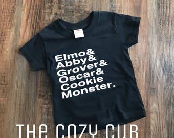 Sesame Street Name List Toddler Youth Shirt, Elmo, Abby, Oscar, Grover, Cookie Monster, & Shirt, Toddler TShirt, Name List Shirt