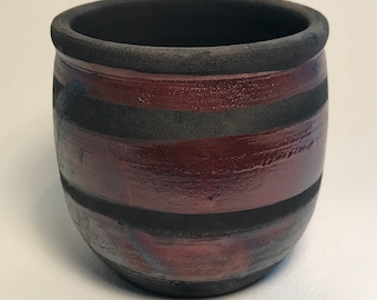 Raku Wheel Thrown Pottery Vase with Rust Color Glaze