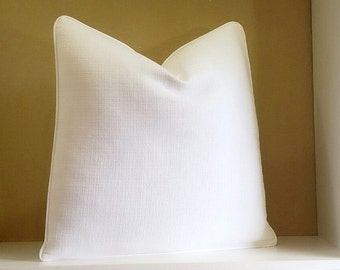 Solid white Pillow - Crisp white pillow cover -  All sizes available select your pillow size during checkout