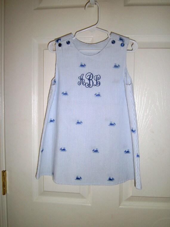 Girls Monogrammed Seersucker Whale Jumper, Handmade, Personalization, Embroidery,Brother-Sister,  Blue, Infant, Toddler, Preteen