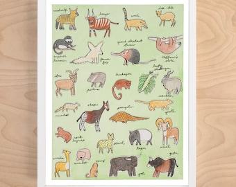 Obscure Animal Alphabet Print (animal alphabet - alphabet print - animal alphabet poster - animal art - nursery art - nursery decor)