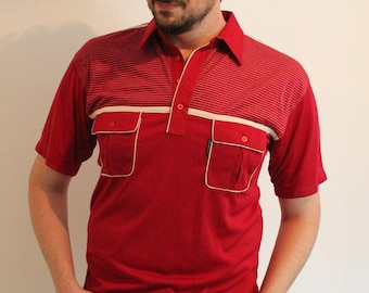 Vintage 1970s Rockabilly Bright Red Stripes Polo Collar Shirt  with Chest Pocket Dead Stock