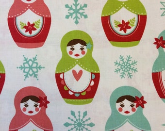 Riley Blake Merry Matryoshka fabric in White