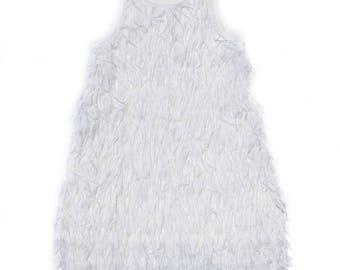 White Sleeveless Flirty Fringe Dress