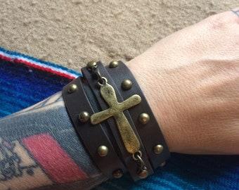 Brass Cross Triple Wrap Studded Cuff