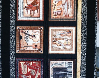 "Quilted Lap or Wall Hanging, Brown/Black, Music theme, 35.5"" x 60.5"", Cotton, Home-made in my smoke free home."