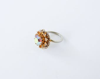 Vintage Sarah Coventry diamante cluster ring. Aurora borealis orange amber diamante ring, silver tone flower floral 1960 ring.