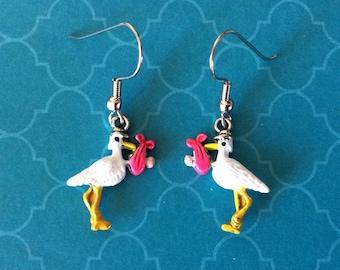 Baby earrings. Stork earrings. Grandma earrings. Bird earrings. Mom earrings.  Animal earrings. Baby shower decorations. STORK CHARMS