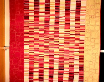 MODERN ART QUILT for sale. Handmade. Original. Double-sided and free motion quilted.  Title: Static of Fire. 1 of 4 from set.